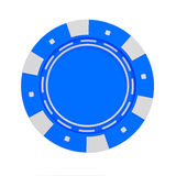 Single blue casino chip  on white background Stock Images