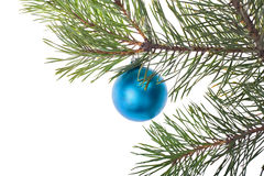 Single blue christmas tree decoration Royalty Free Stock Images