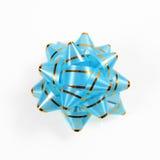 Single blue gift bow Royalty Free Stock Photos