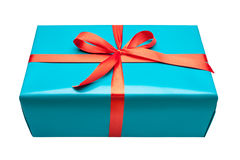 Single blue gift box. With ribbon  on white background Royalty Free Stock Photography