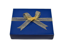 Single blue gift box with gold ribbon and bow Stock Photos