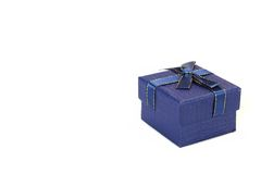 Single Blue Gift Box With  Pattern Isolated On White Background Stock Photo
