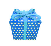 Single blue gift box with ribbon isolated on white Stock Photo