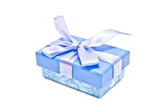 Single blue gift box on white Stock Photography