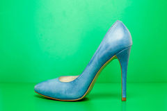 Single blue high heels Stock Photography