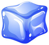 Single blue ice cube Royalty Free Stock Photos