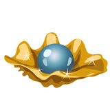 Single blue pearls in a Golden shell, vector image Stock Photography