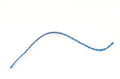 Single blue thread. Single red thread with white background Stock Photo