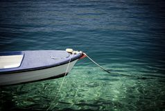 Single boat on the sea Stock Image