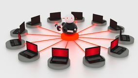 Single bot in the circular center of platforms connected to laptops. Botnet concept 3D illustrations stock illustration