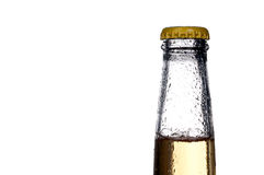 Single bottle of beer on white Royalty Free Stock Photos