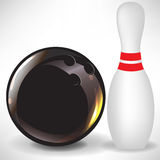 Single bowling pin and ball Royalty Free Stock Photography
