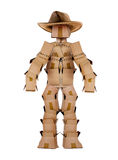 Single box man cowboy character on white Stock Image