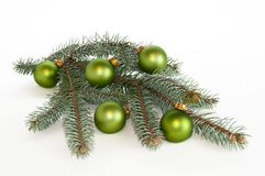 Single branch of pine christmas decorated Stock Image