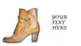Single brown cowboy boot Stock Image