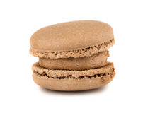 Single brown french macaroon cookie Stock Photos