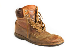 Single brown leather work boot on white Stock Image