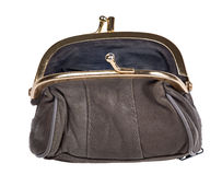 Single brown purse on white Royalty Free Stock Photo