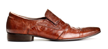 Single brown shoe Royalty Free Stock Photo