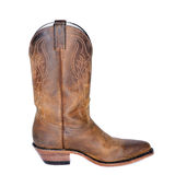 Single Brown Western Boot. One Brown Men's Western boot stock photo