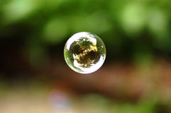 Single Bubble Floating. A single bubble floating in mid air Stock Photography