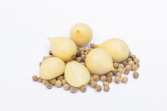 Single Bulb garlic cloves with pepper Royalty Free Stock Photography