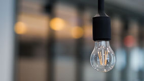 Single bulb in office building Stock Photo