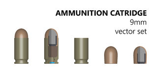 Single bullet. 9mm bullet on a white background. Stock illlyustratsiya. Design element. The three-dimensional object from different angles. The cartridge in Royalty Free Stock Photography
