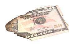Single burnt dollar banknote Stock Photography