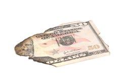 Single burnt dollar banknote on white Stock Photo