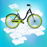 Single bycicle riding on clouds. Bycicle riding on clouds illustration Stock Photography