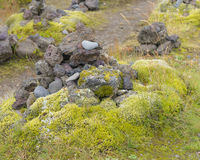 A single cairn at Laufskalar, Iceland where travellers leave roc Royalty Free Stock Images