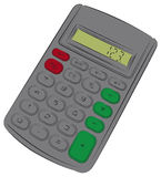 Single calculator. Coloured drawing of single calculator Royalty Free Stock Photos