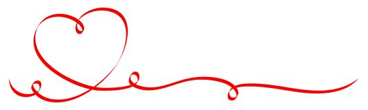 Single Calligraphy Red Heart With Three Swirls Ribbon royalty free illustration