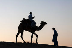 Single camel rider and person standing silhouetted dusk twilight. Silhouetted against the bright orange hues of a dusk twilight, a single camel with rider is Stock Image