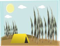 Single camp tent on hilly forest daylight Royalty Free Stock Photos