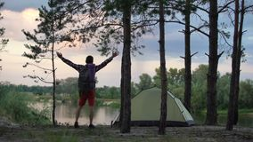 Single camper raising arms, enjoying freedom, nature lover, tourist back view. Stock footage stock footage