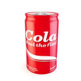 Single can of fizzy soda cola with original design Stock Photos