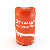Single can of fizzy soda orange with original design Stock Photo