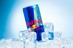 Single can of Red Bull Energy Drink on ice Stock Photos