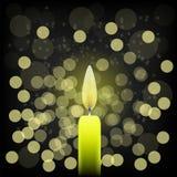 Single Candle. On Bark Blurred Background. Yellow Candle is Burning Stock Image