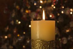 Single Candle Stock Photo