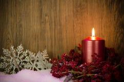 Single candles Christmas decoration Stock Photos