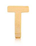 Single capital block wooden letter T. royalty free stock photography
