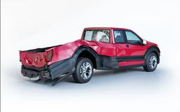 Single car crashed. Red pick up damaged on the rear part royalty free stock image