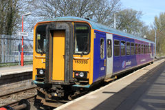 Single car dmu train in Lancaster station. Royalty Free Stock Photography