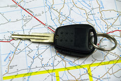 Single Car key on map Royalty Free Stock Photo