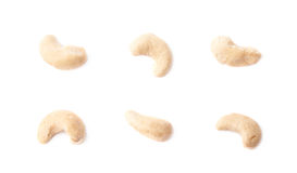 Single cashew nuts isolated stock photos
