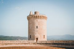 Single castle tower stock photography