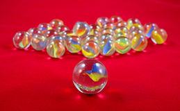 Single Cats Eye Marble Up Close With Group Stock Photo